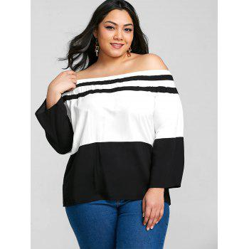 Plus Size Elastic Off The Shoulder Striped Tee - BLACK 6XL