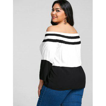 Plus Size Elastic Off The Shoulder Striped Tee - BLACK 7XL