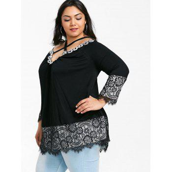 Criss Cross Lace Panel Plus Size Tee - BLACK 5XL