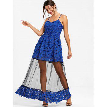 Lace Formal Long Flare Dress - SAPPHIRE BLUE M