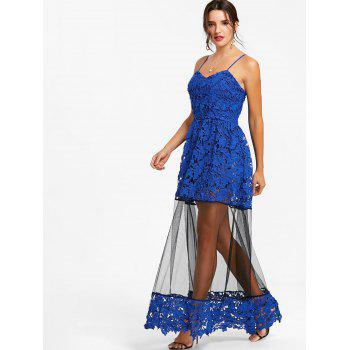Lace Formal Long Flare Dress - SAPPHIRE BLUE 2XL