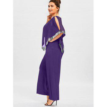 Plus Size Overlay Sequined Wide Leg Jumpsuit - PURPLE 2XL