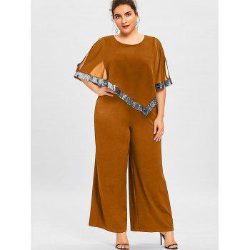 Plus Size Overlay Sequined Wide Leg Jumpsuit - TANGERINE XL