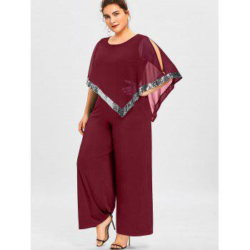 Plus Size Overlay Sequined Wide Leg Jumpsuit - WINE RED 2XL