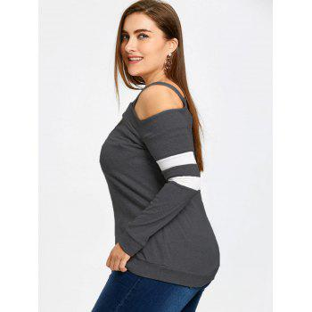 Plus Size Long Sleeve Cut Out Top - DARK GRAY XL
