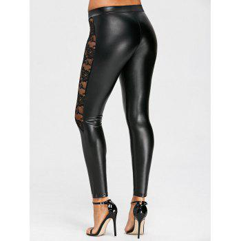 Sheer Lace Insert Low Waisted PU Leather Pants - BLACK M
