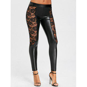 Sheer Lace Insert Low Waisted PU Leather Pants - BLACK L