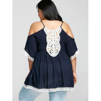Plus Size Contrast Trim Open Shoulder Babydoll T-shirt - CADETBLUE 2XL