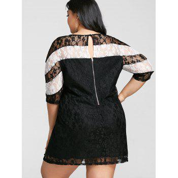 Color Contrast Plus Size Mini Lace Dress - WHITE/BLACK 3XL