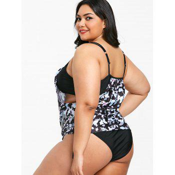 Plus Size Floral High Cut One Piece Swimwear - BLACK 4X