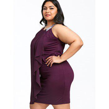 Plus Size Overlap Sleeveless Fitted Dress - PURPLE JAM 5XL