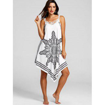 Lace Panel Tribal Print Flowy Dress - WHITE XL