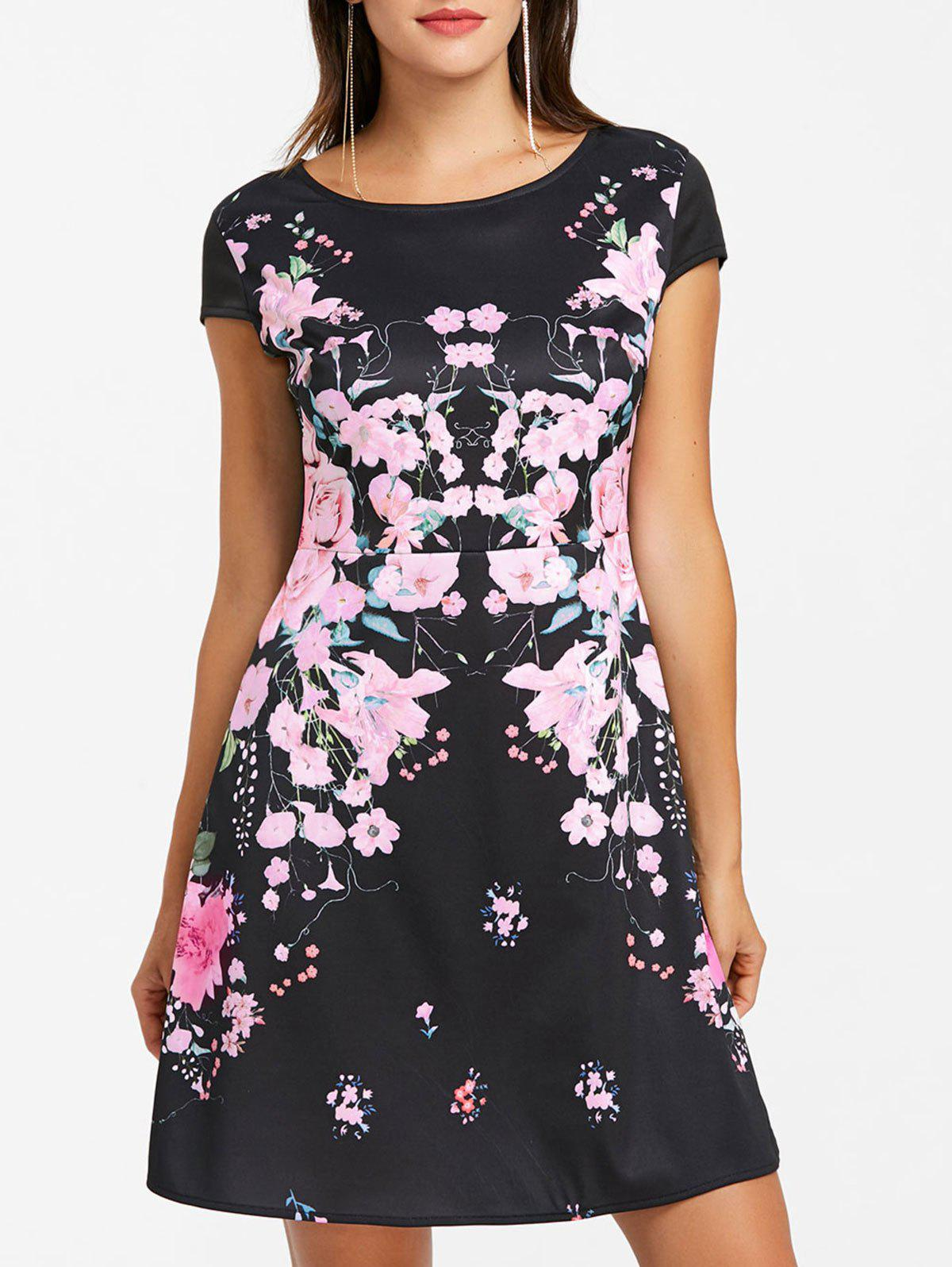 A-line Flower Print Dress - BLACK XL