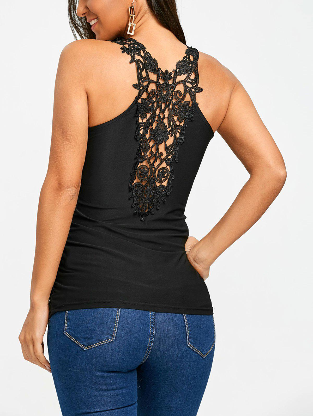 Crochet Lace Panel Back Tank Top