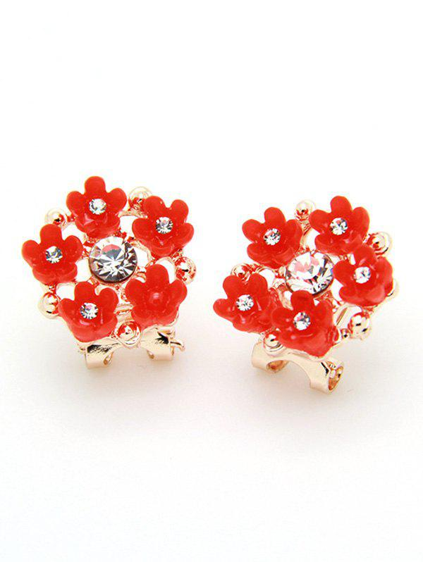 цены Flower Shape Faux Diamond Stud Earrings