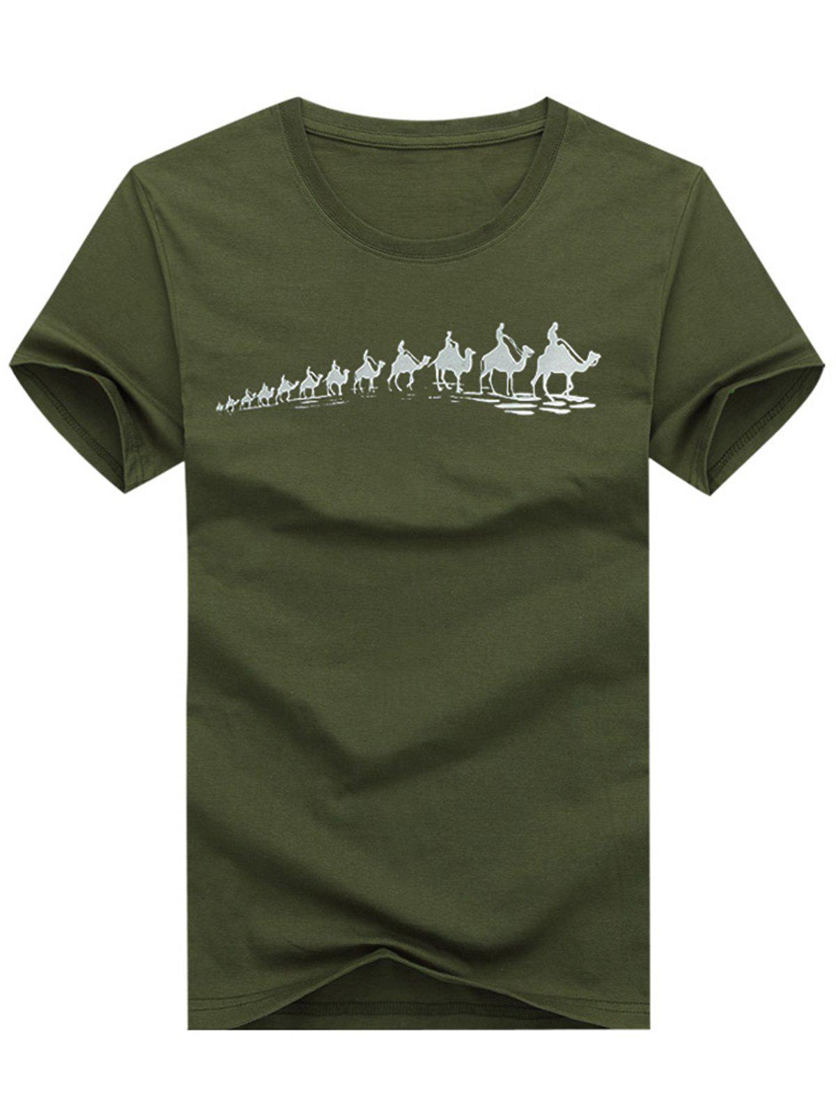 A Row of Camels Print T-shirt - ARMY BROWN 3XL