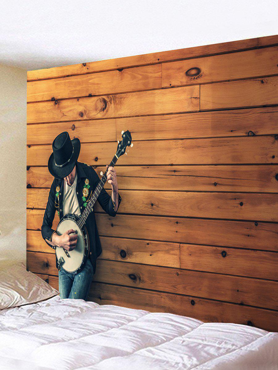 Guitar Boy Print Wall Hanging Tapestry - BROWN W59 INCH * L59 INCH