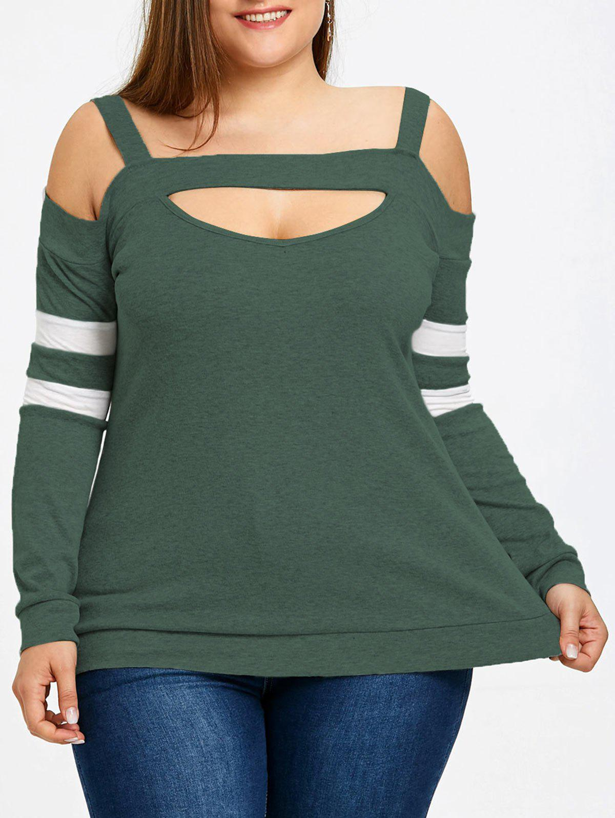 Plus Size Long Sleeve Cut Out Top - GREEN 3XL