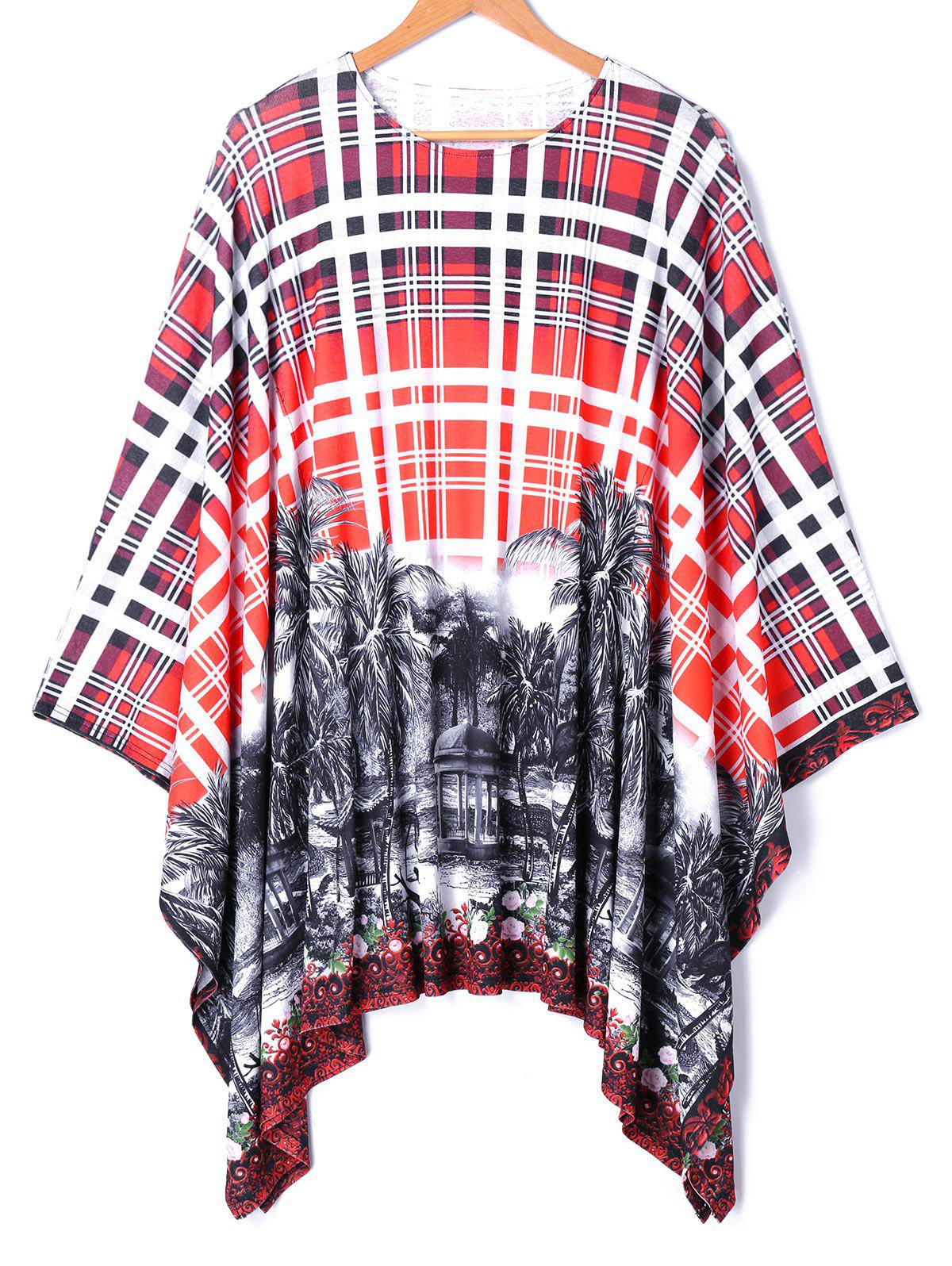 Asymmetrical Batwing Sleeve Plaid Printed Blouse