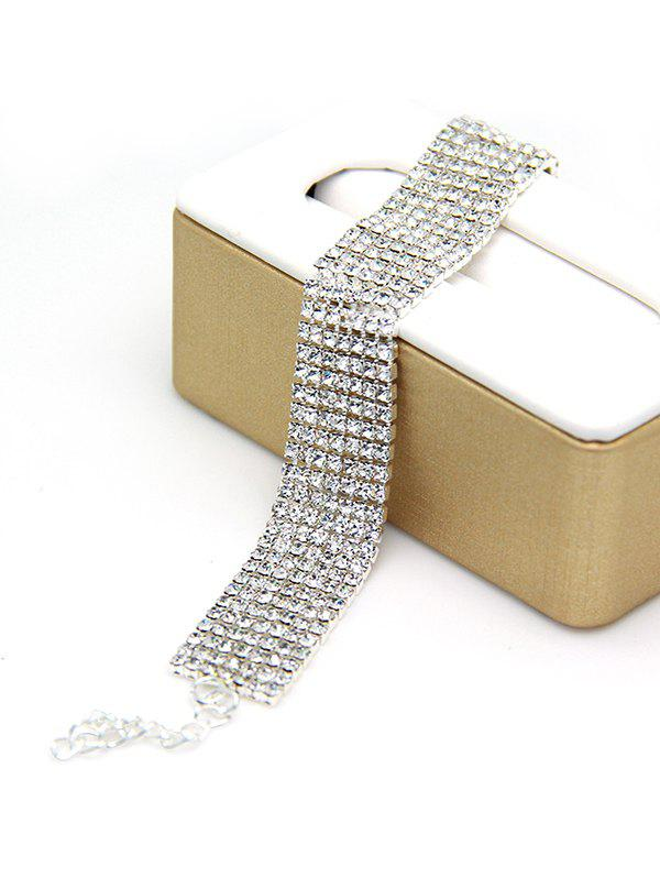 Multilayered Alloy Rhinestone Chain Bracelet - SILVER