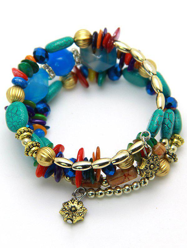 Bohemian Stones and Beads String Multilayer Bracelet - BLUE