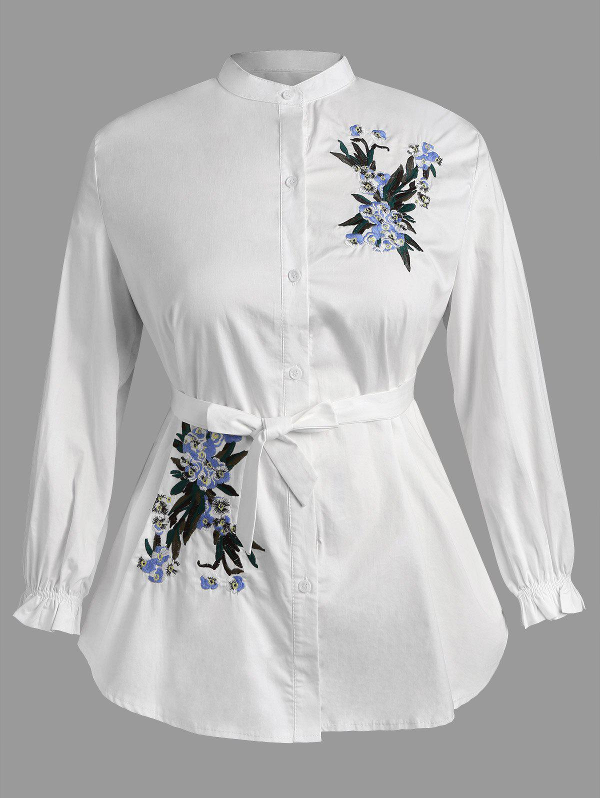 Plus Size Floral Embroidery Shirt With Belt