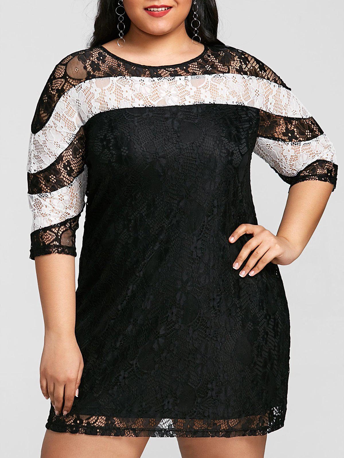 Color Contrast Plus Size Mini Lace Dress - WHITE/BLACK 2XL