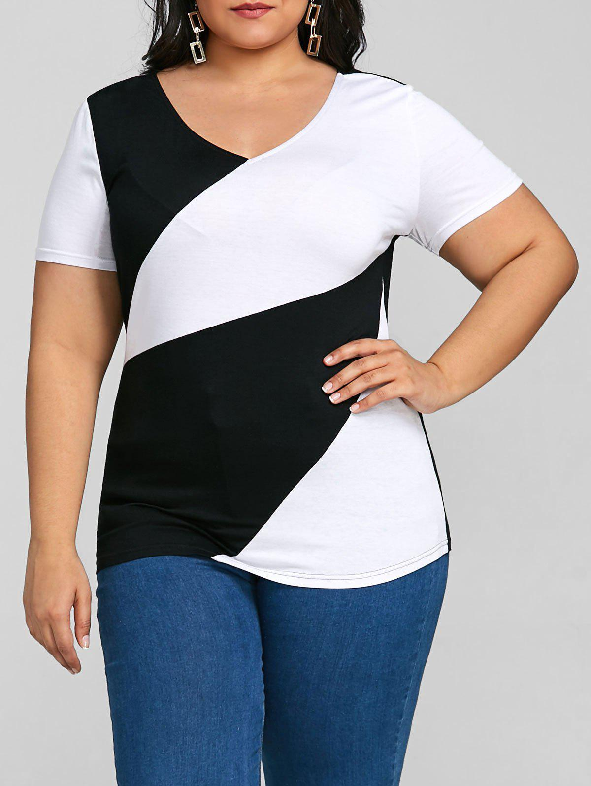 Plus Size Color Block V Neck Fitted T-shirt plus size color block v neck t shirt