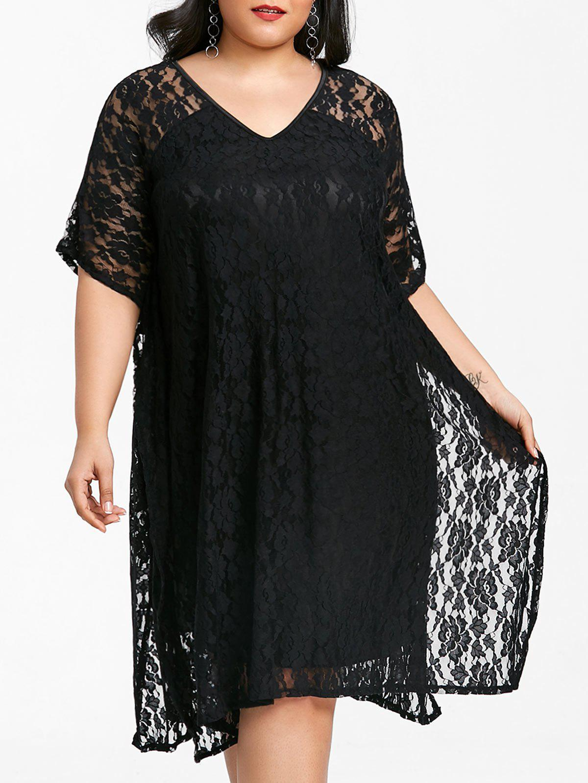 Plus Size Short Sleeve Lace Shift Dress - BLACK 7XL