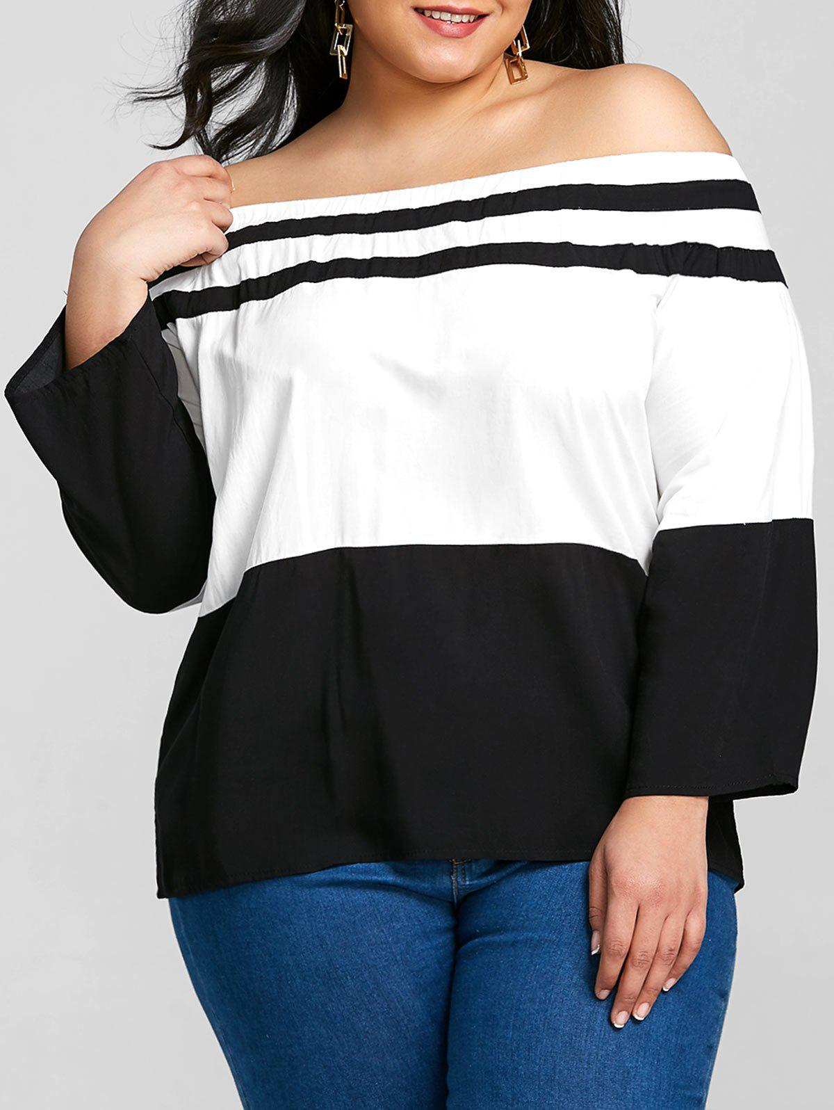 Plus Size Elastic Off The Shoulder Striped Tee - BLACK 3XL