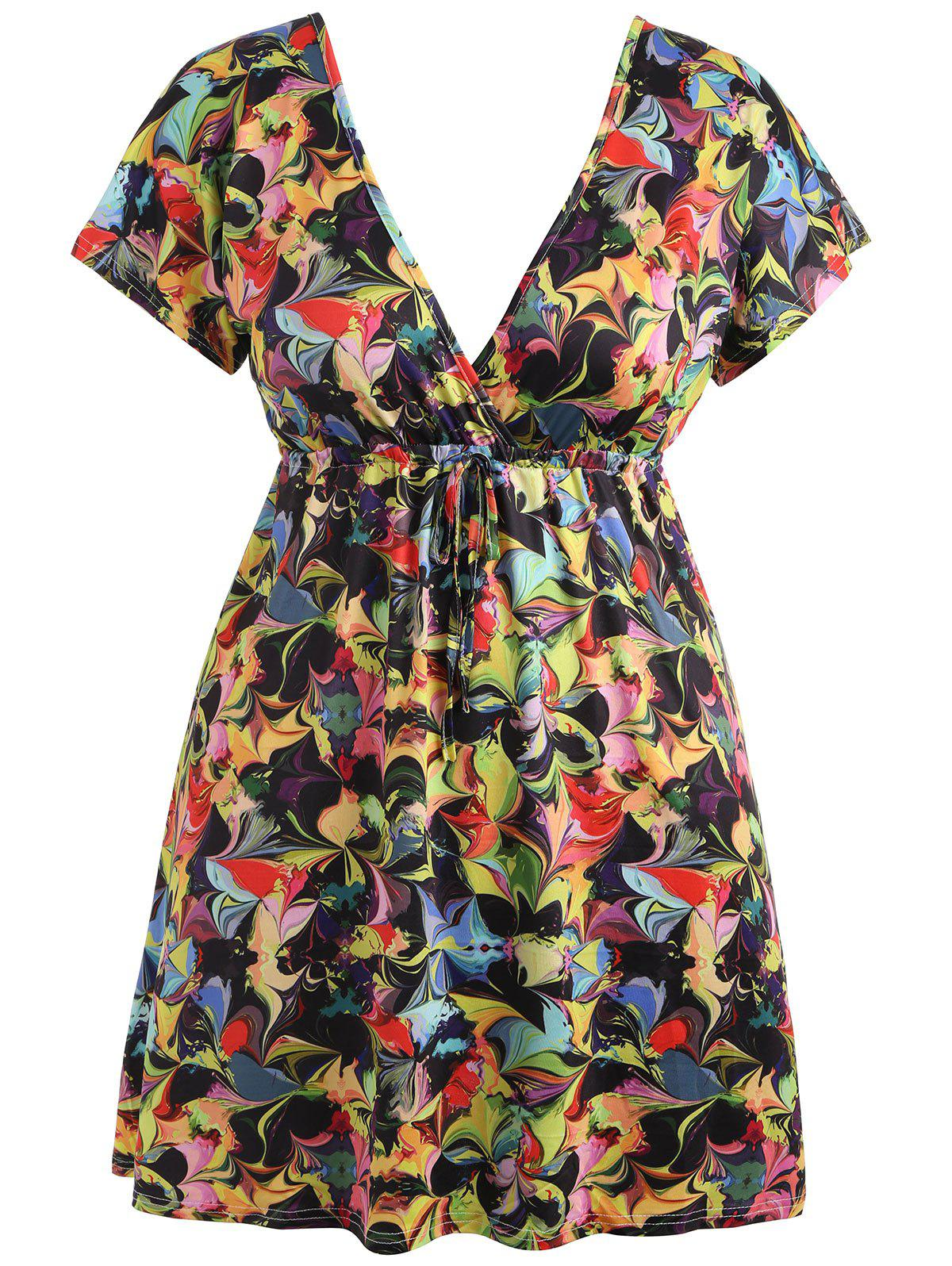 High Waisted Plus Size Printed Dress plus size high waisted butterfly dress