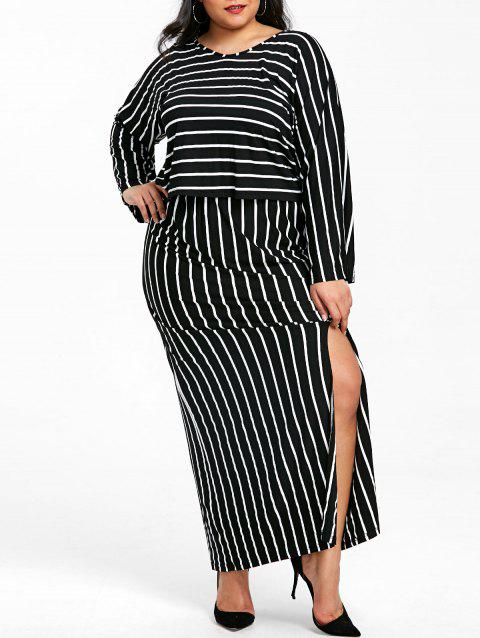 Plus Size Stripe Two Piece Maxi Dress - BLACK 5XL