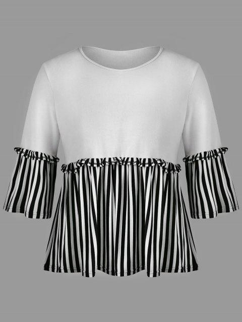 Lettuce Trim Plus Size Striped Insert T-shirt - WHITE 6XL
