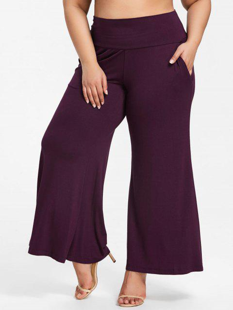 Plus Size High Waisted Loose Pants - DULL PURPLE 3XL