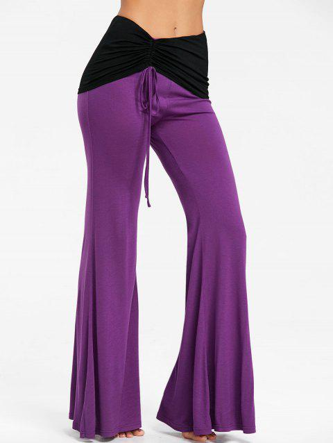 High Waist Color Block Ruched Bell Bottom Pants - PURPLE XL