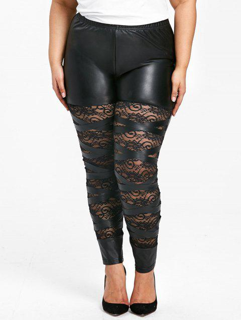 Plus Size High Rise Lace Panel PU Pants - BLACK 4XL