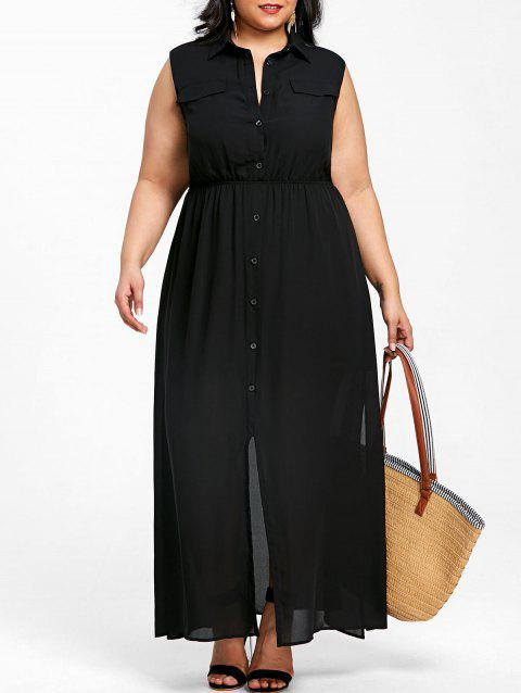Plus Size Sleeveless Side Split Shirt Dress - BLACK XL