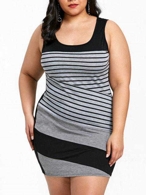 Plus Size Striped Sleeveless Mini Fitted Dress - GRAY 4XL