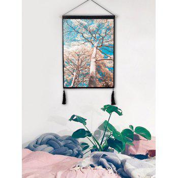 Tall Tree Pattern Tassel Decorated Wall Hanging Artwork - multicolor 1PC:18*26 INCH(NO FRAME)