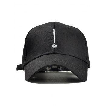 Exclamation Mark Embroidery Sunscreen Hat - BLACK