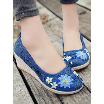 Floral Decorated Ethnic Wedge Shoes - BLUE 36