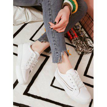 Outdoor Lighted PU Leather Sneakers - SILVER 37
