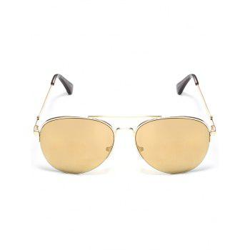 Anti Fatigue Metal Full Frame Crossbar Pilot Sunglasses - EARTHY