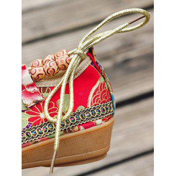 Flowers Bow Embellished Ankle Strap Loafers - RED 40