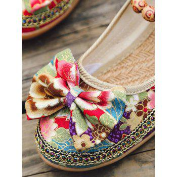 Flowers Bow Embellished Ankle Strap Loafers - RED 41