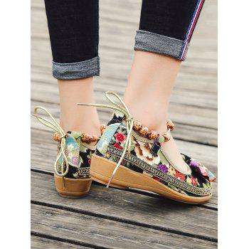 Flowers Bow Embellished Ankle Strap Loafers - BLACK 37