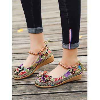 Flowers Bow Embellished Ankle Strap Loafers - BLACK 35