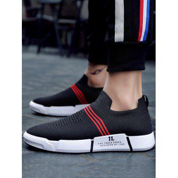 Knitted Fabric Elastic Slip On Striped Casual Sneakers - RED 39