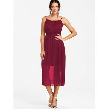 High Waisted Spaghetti Strap Chiffon Dress - RED WINE S