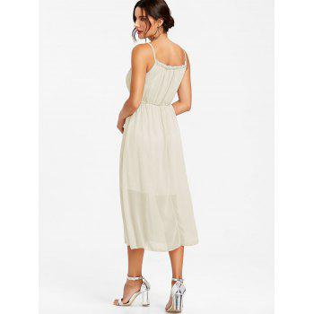 High Waisted Spaghetti Strap Chiffon Dress - WHITE L